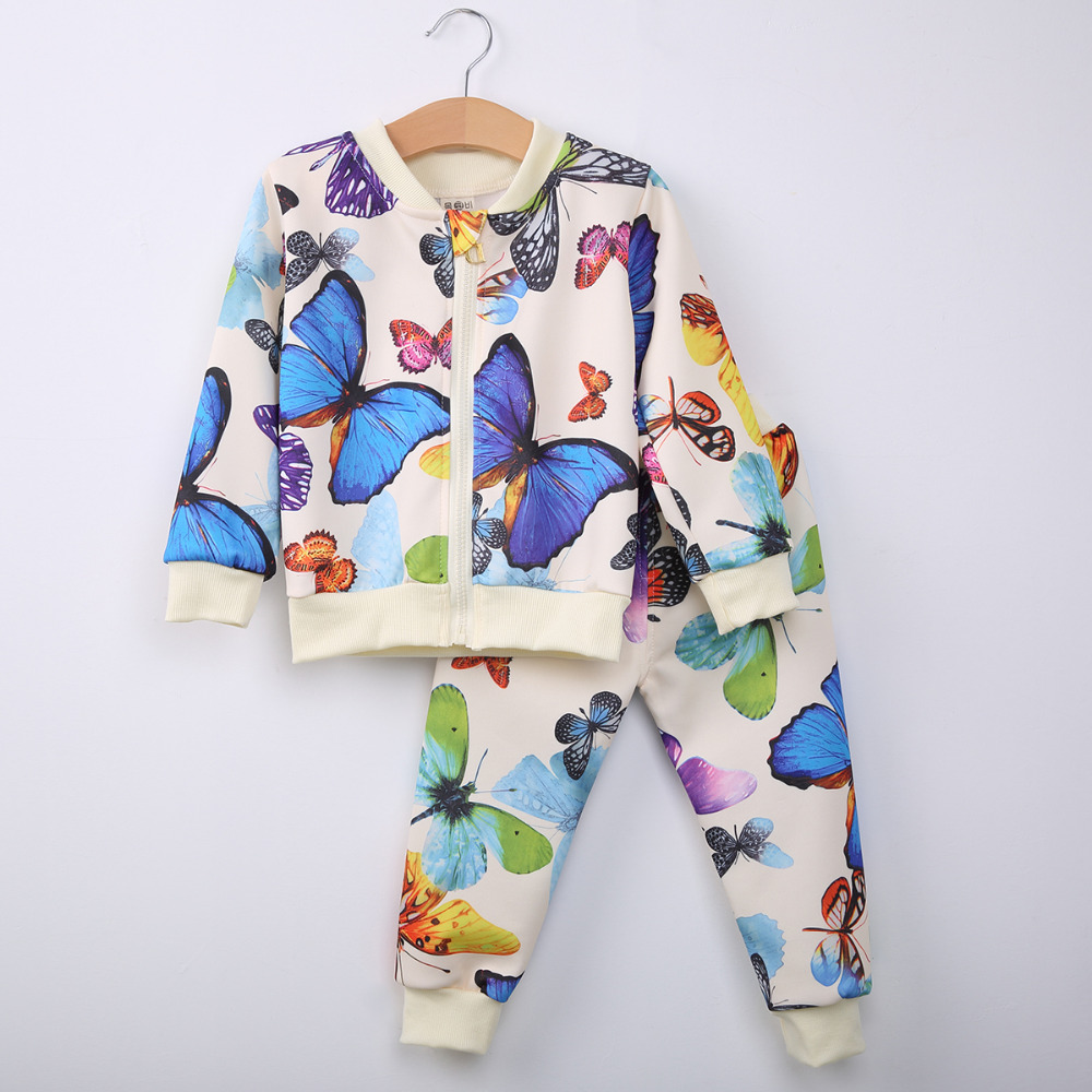 20af0d991545 2017 New 2PCS Baby Toddler Kids Girls Clothes Butterfly Cardigan ...