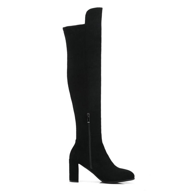 La Cuero gris Negro Femeninos Invierno Bota Tacones Altas Genuinos Altos Muslo Zipper Botas Sobre Zapatos Long Negro Rodilla De Mujeres Salu Yqw4vff