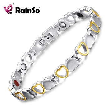 Rainso Fashion Healthy Energy Bracelet Hearted design Stainless Steel Health Care Magnetic Gold Bracelet Hand Chain For Women