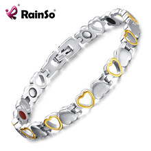 Rainso Fashion Healthy Energy Bracelet Hearted design Stainless Steel Health Care Magnetic Gold Bracelet Hand Chain For Women(China)