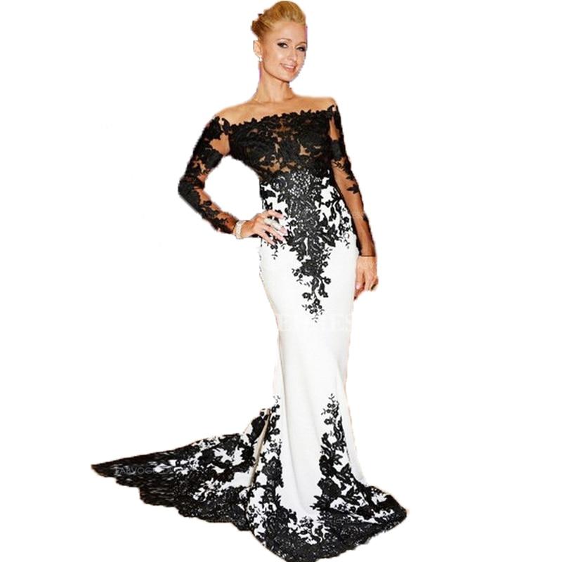 la mejor moda 2019 mejor comprar baratas Elegantes apliques de encaje de manga larga vestidos noche ...