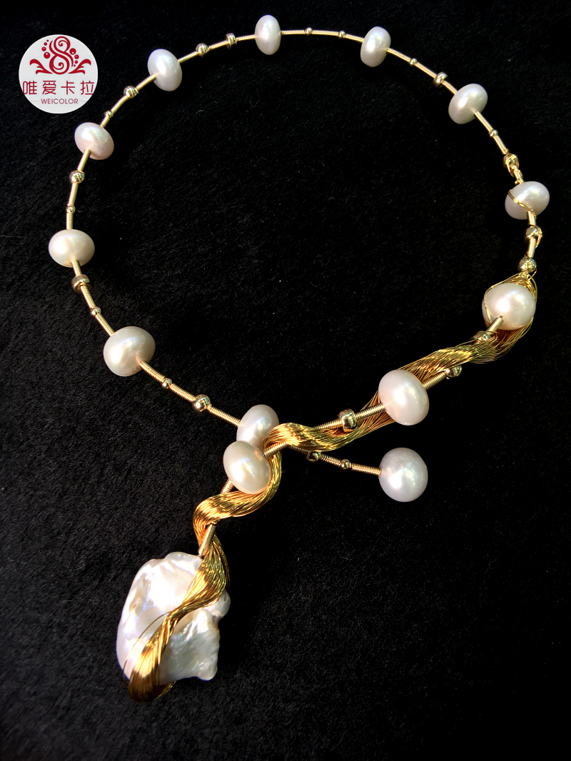 WEICOLOR Most Popular Hand-made Freshwater Pearl Torque With Gold Mixed Metal Item Of Best Quality (not loose color)