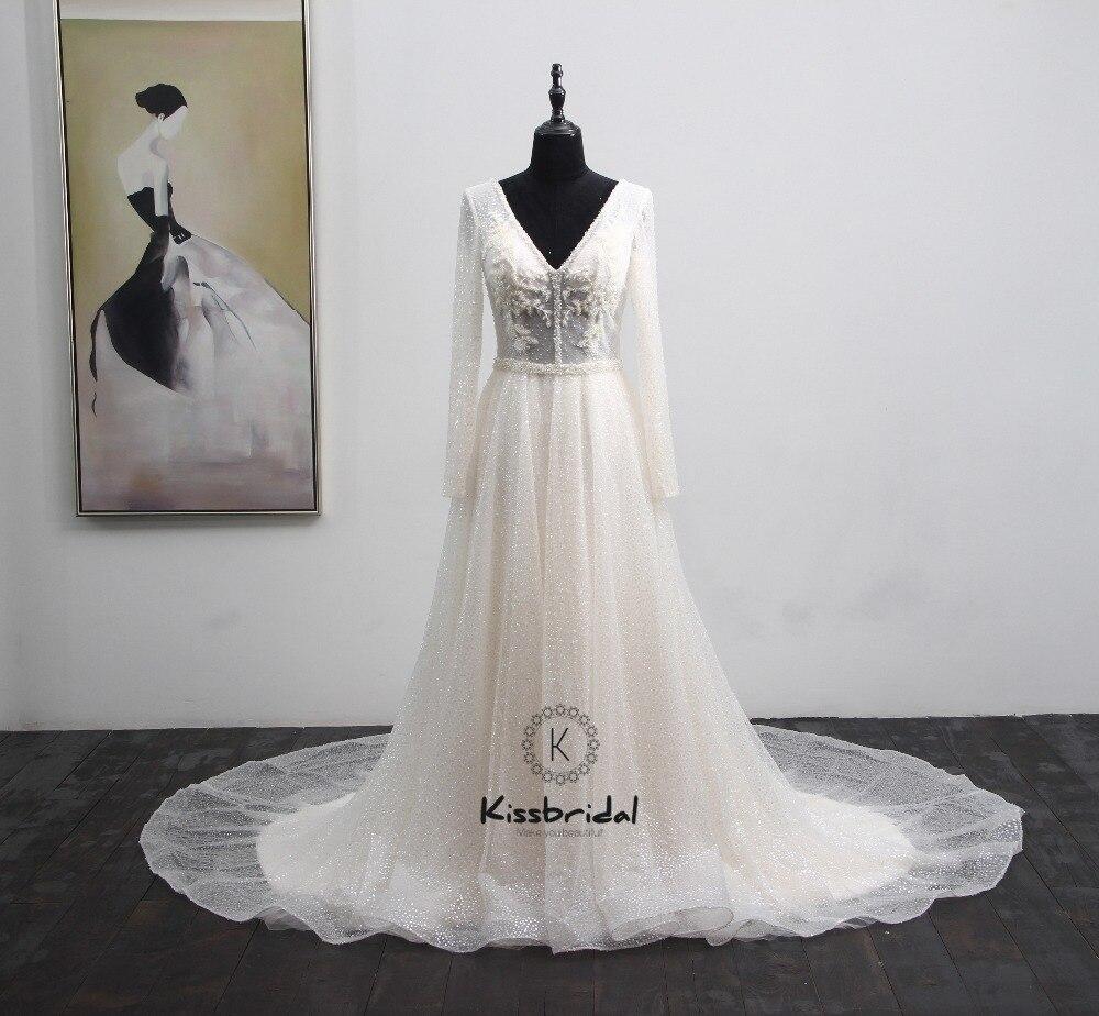 Neue Ankunft Backless Hochzeit Kleider 2018 V-ausschnitt Mit Langen Ärmeln Kapelle Zug Pailletten Spitze Braut Kleider Vestido de noiva gelinlik