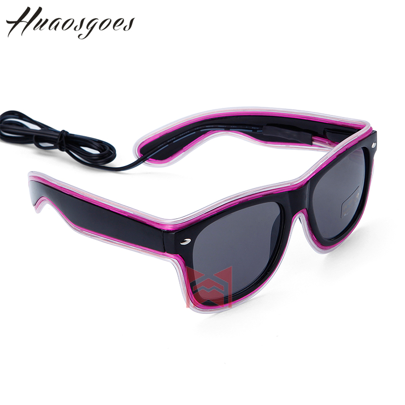 New arrival Double lighting El Wire glasses Light Up Shutter Glow LED Glasses Rave Costume Party DJ Bright Glasses 10 Type color