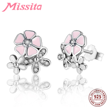 MISSITA 100% 925 Sterling Silver Pink Blossoms Earrings For Women Jewelry Brand Wedding Stud HOT SELL Gift
