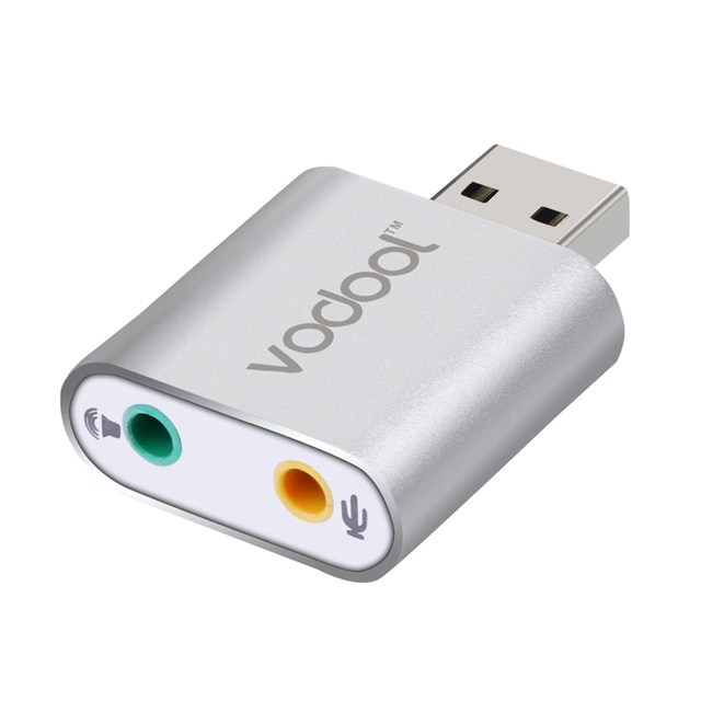 USB 2.0 Hi-Speed Aluminum Alloy Slim Virtual 3D stereo 7.1 Channel USB Audio Sound Card Adapters  for Skype Headsets L3FE