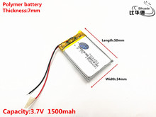 Liter energy battery Good Qulity 703450 3.7V 1500MAH 073450 Polymer lithium ion / Li-ion battery for TOY,POWER BANK,GPS,mp3,mp4