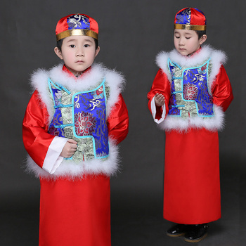 Chinese Ancient Costume Qing Dynasty Small Landlords Boy Clothes Robe +Vest +Hat Kids Chinese Movie Clothes Child Robe