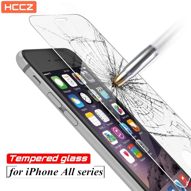 HCCZ 2.5D Premium Tempered glass for iPhone 6s 6 7 8 Plus Screen protector glass for iPhone 5s 5 SE 5c 4 4s X Protective film