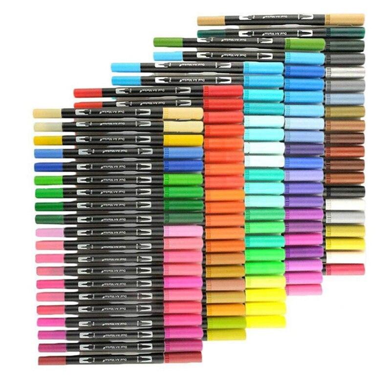 12/24/36/48/72/100 Color Brush Markers Markers Set Fine Line Pen Watercolor Painting Colour Pen Markers Colors