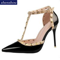 2016 Pumps Summer Style Fashion Female Sandals Rivet Metal Decoration Pu Leather South Korean Style Women