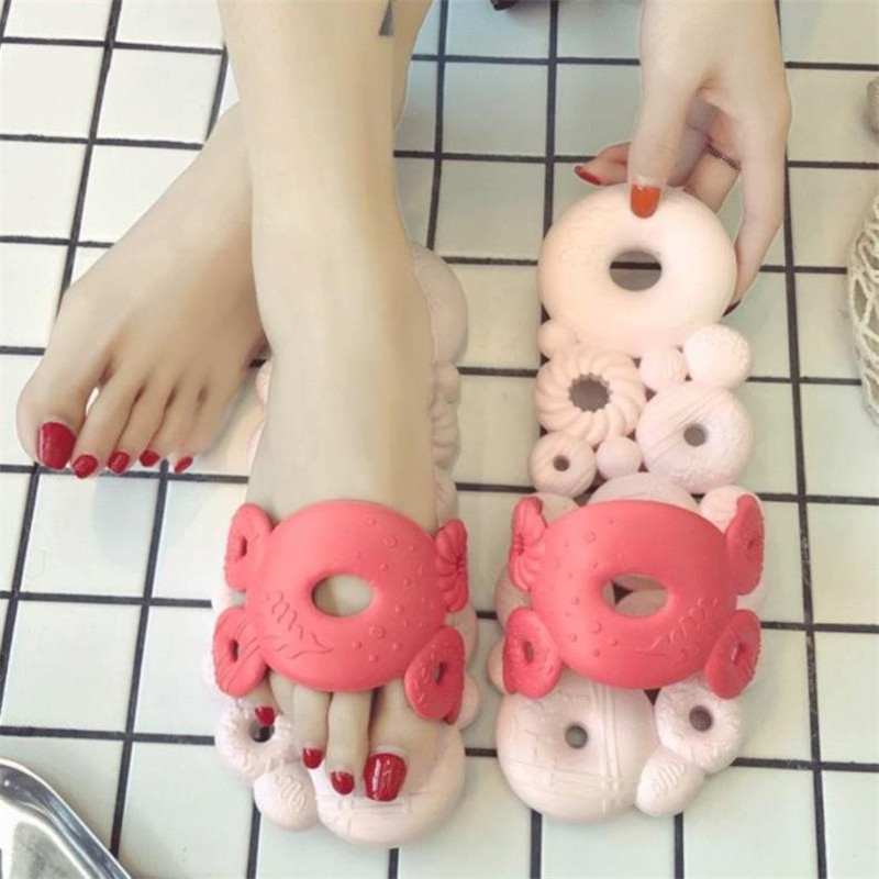 Funny Cute Slippers Women Summer Beach Slippers Platform Flip Flops Pink Sliders Shoes Indoor Slippers Womens Slides Sandal 2019 in Slippers from Shoes