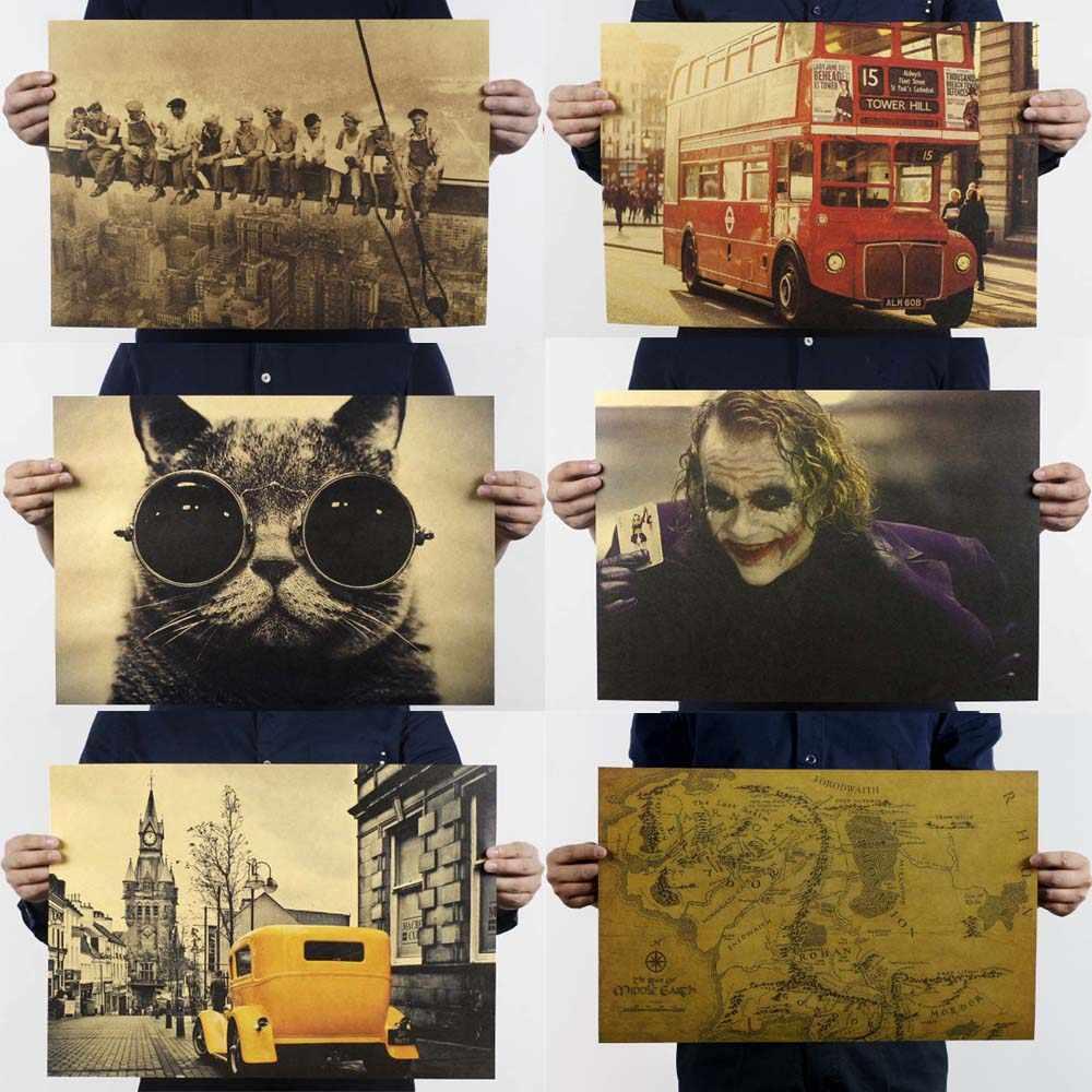 الفيلم الملصقات والمطبوعات ريترو المشارك الزينة خمر أنيمي غرفة المعيشة اللوحة الزخرفية الأساسية كرافت ورقة ملصقات جدار