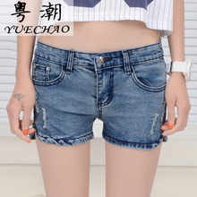 wangcangli 2017 new female denim shorts blue section jeans for women low-waist light-colored were thin jeans feet open 3808