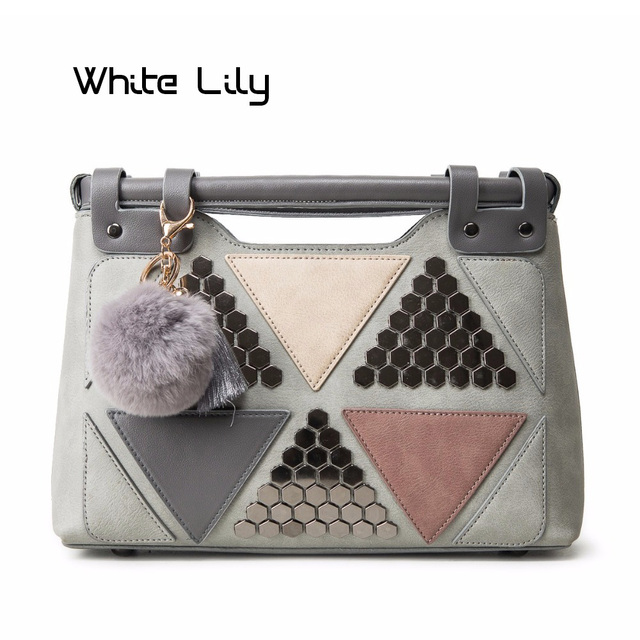 Hot Sale PU Leather Women Handbags Brand Office Lady Fur Ball Tote Bags Top-Handle Bag Triangle Patchwork Rivet Shoulder Bags