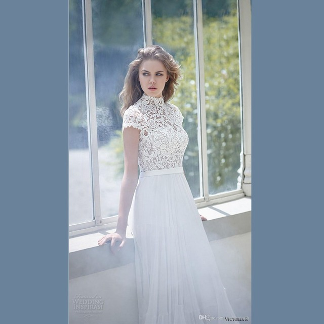 Victoria 2016 White Bridal Gown High Collar Short Sleeves Lace Belt ...