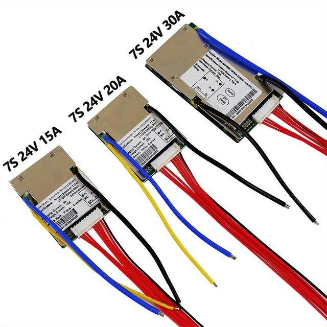 ליתיום BMS 7S 24V 15A, 20A ו 30A BMS עבור 24V ליתיום יון סוללה עם פונקצית איזון