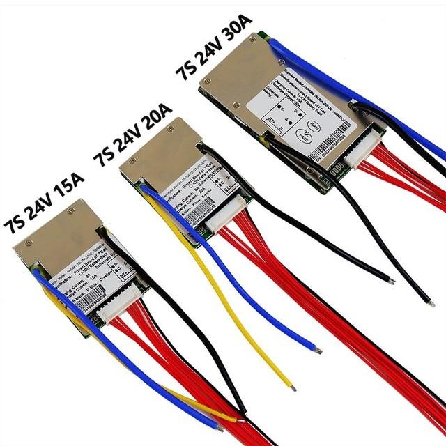 Batteria li ion BMS 7S 24V 15A, 20A e 30A BMS Per 24V batteria agli ioni di litio Con funzione di bilanciamento