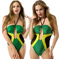 Mujeres Sexy traje de Baño Recortable Jamaica Monokini Bikini Traje de Baño de la Playa Backless del traje de Baño Verde
