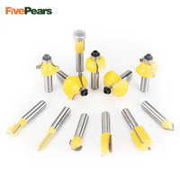 FivePears 12pcs 8mm Router Bits Set Professional Shank Tungsten Carbide Router Bit Cutter Set With