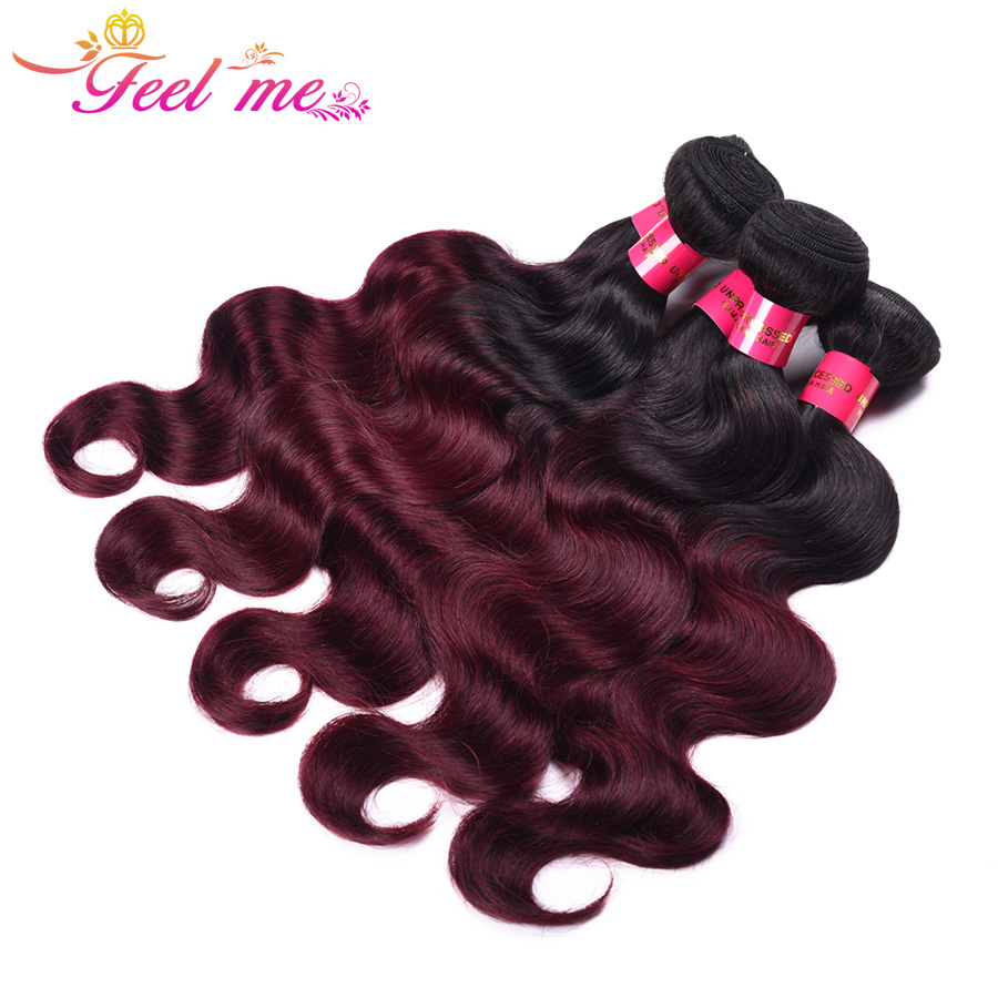 Feel Me Peruvian Body Wave With Closure Non-Remy Hair 1B/99j 3 Bundles Weave With Closure Ombre Hair Bundles With Closure