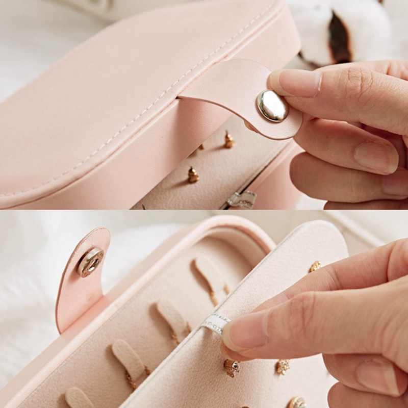 Koreański styl fajne i proste dziewczyna kolczyki biżuteria płyta przenośne skórzane etui kolczyki pierścień wielofunkcyjny biżuteria pudełko do przechowywania