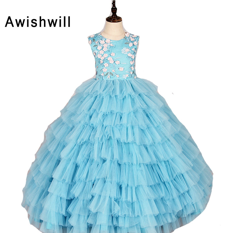 Customized 2019   Flower     Girl     Dresses   for Weddings Sleeveless O-neck   Flowers   Tiered Tulle Ball Gown Party Pageant   Dress   for   Girls