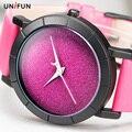 Diseño Creativo Cielo Estrellado UNIFUN Simple Breve Cara de Luna de la Estrella de Cuarzo de Cuero de Moda Casual Relojes de pulsera de Las Señoras Regalo Reloj
