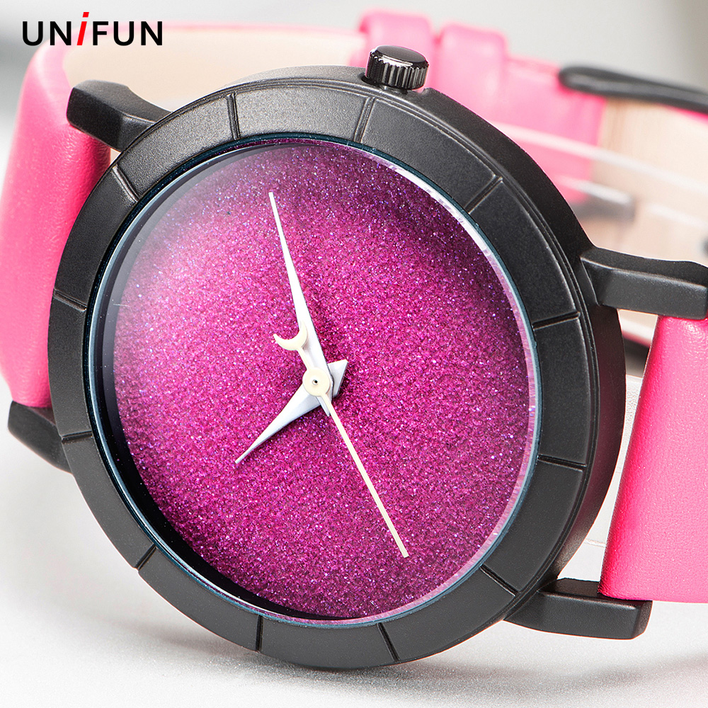 UNIFUN Creative Design Starry Sky Simple Brief Face Leather Quartz Star Moon Fashion Casual Wristwatches Women Ladies Gift Watch 2017 gift enmex creative simple design brief face with a red pointer steel band water prof young and fashion quartz watch
