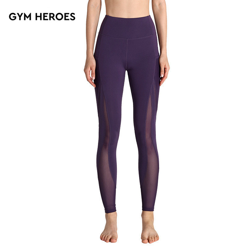 NET Yarn Yoga pants Quick dry breathable sports tights fitness run trousers gym compression pants slim