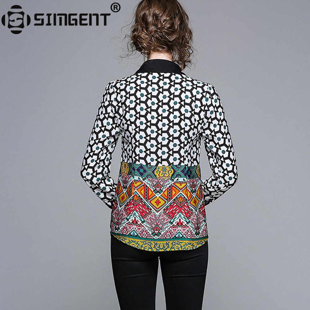 Simgent 2018 Новая мода длинный рукав принт весна офис леди работа повседневные рубашки винтажные блузки для женщин женская одежда SG8342