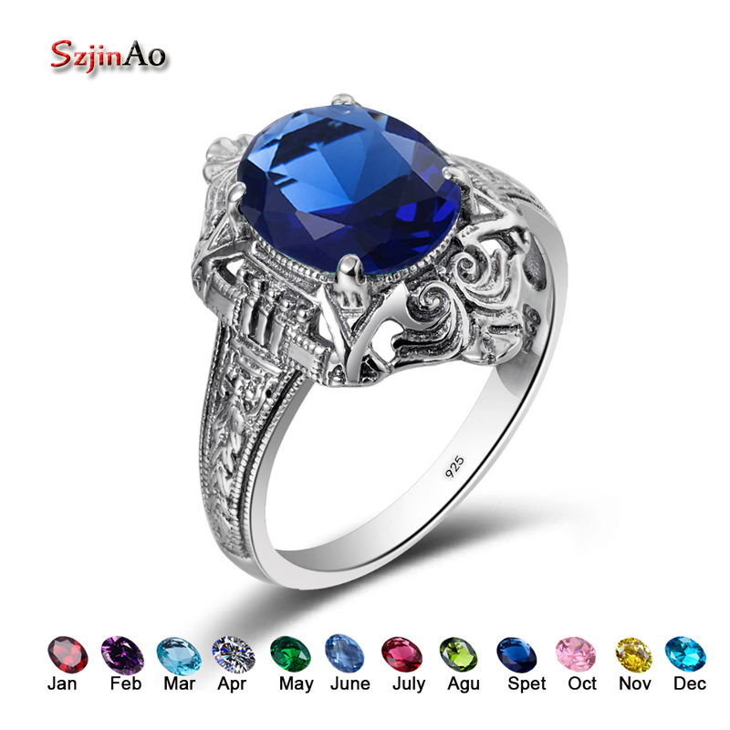 Szjinao 925 Sterling Silver Engagement Birthstone Rings Vintage 2 3CT Blue Rhinestone DIY Love Star Rings