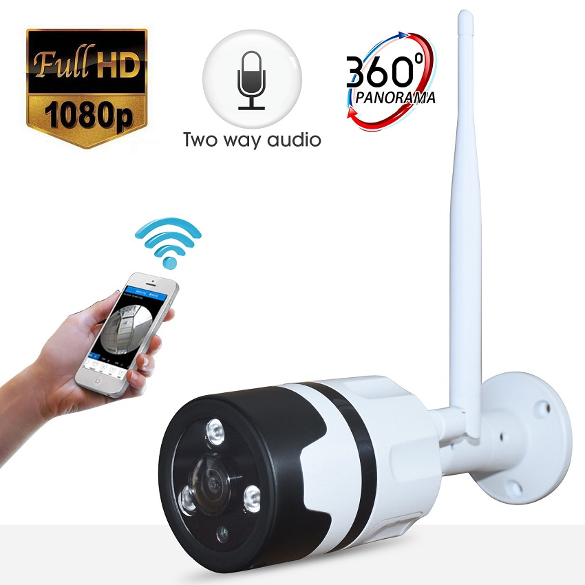 <font><b>1080P</b></font> <font><b>WIFI</b></font> outdoor panoramic Camera use HD 1.44MM lens 2MP 360 degree Metal waterproof camera support Max 128GB TF card image