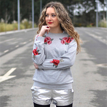New Valentine Woman Plus Size Tops Sweatshirt Rose Embroidery Fashion Clothes Women Hoodies Pullover