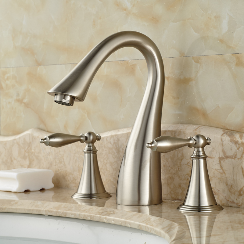 Best Quality Widespread Dual Handle Basin Faucet Brushed Nickel ...