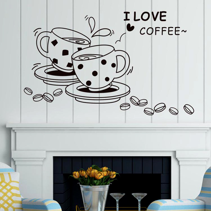 New Arrival I Love Coffee Restaurant 3d Diy Wall Stickers Storefront Kitchen Wall Skirting Board Decall Wallpaper