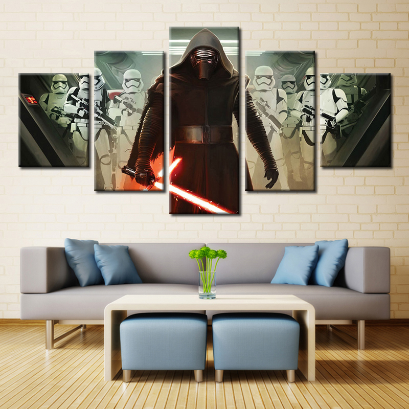5 Pieces Movie Star Wars VII Force Awakens Rey Vs Lightsaber Home Wall Decor Canvas Picture Art HD Print Painting Canvas Art