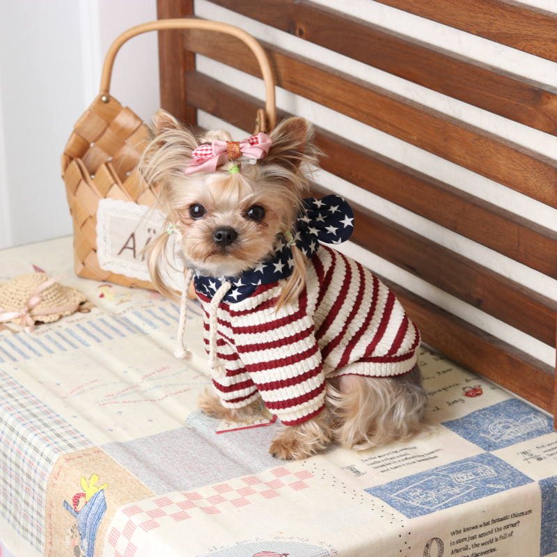 Casual Big Ears Striped Dog Hoodies Teddy Yorkshire Clothes for Dogs Dog Vests Shirts Cat Pet Products for Dogs Spring HY