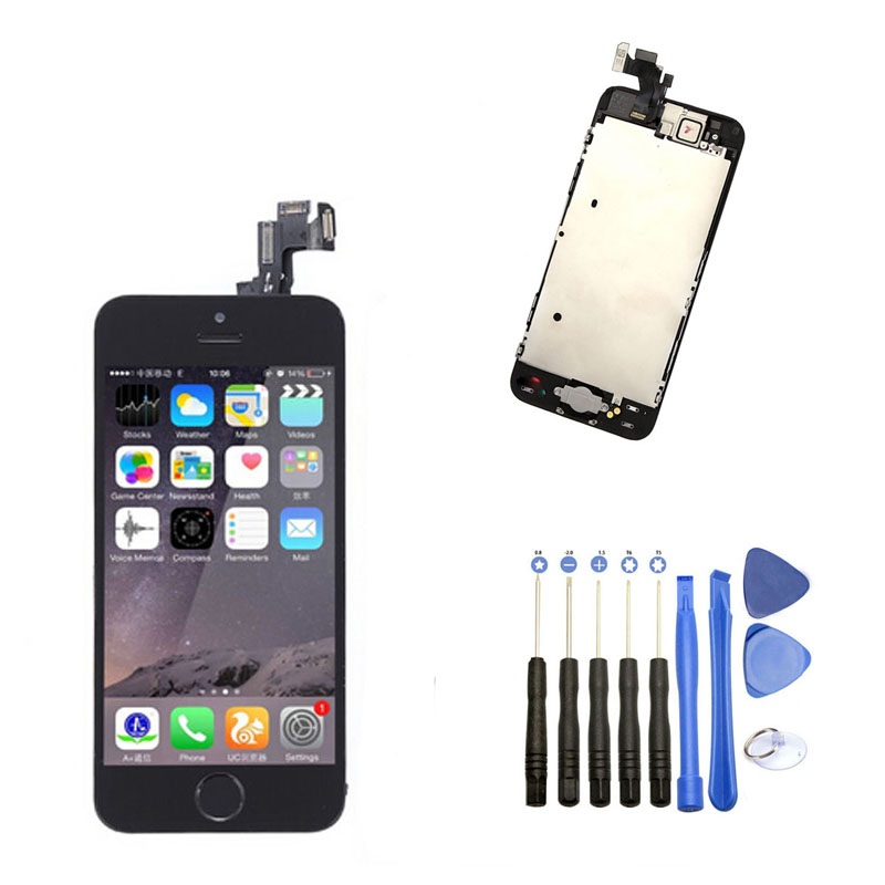 ФОТО LCD Display Touch Screen Digitizer Full Assembly With Small Parts Opening Tool For Iphone 5S