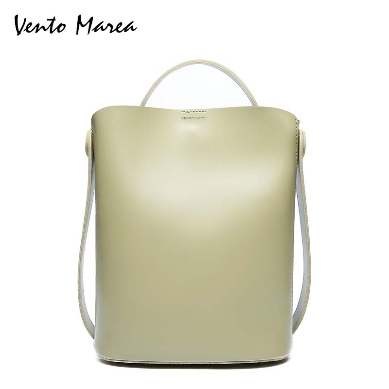 купить Vento Marea 2018 Fashion Bucket Bag Women Shoulder Bags Solid Color Large Capacity Messenger Bag PU Leather Handbag 4 Colors по цене 4957.7 рублей