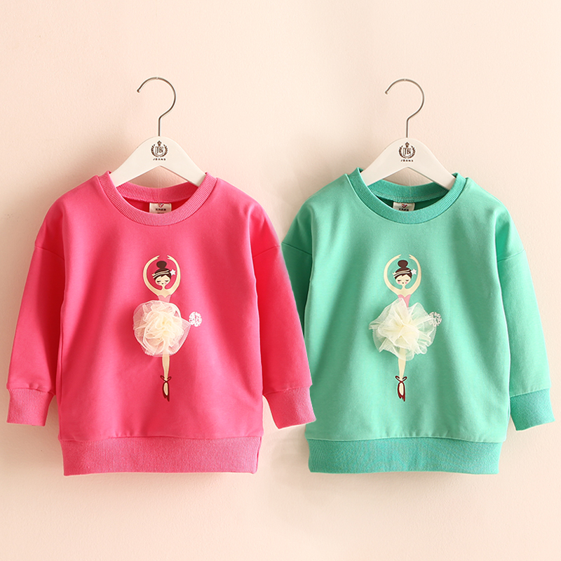 Baby little girl sweatshirt hoodies 2016 spring children's kids girls clothing child pullover outerwear wt-5975