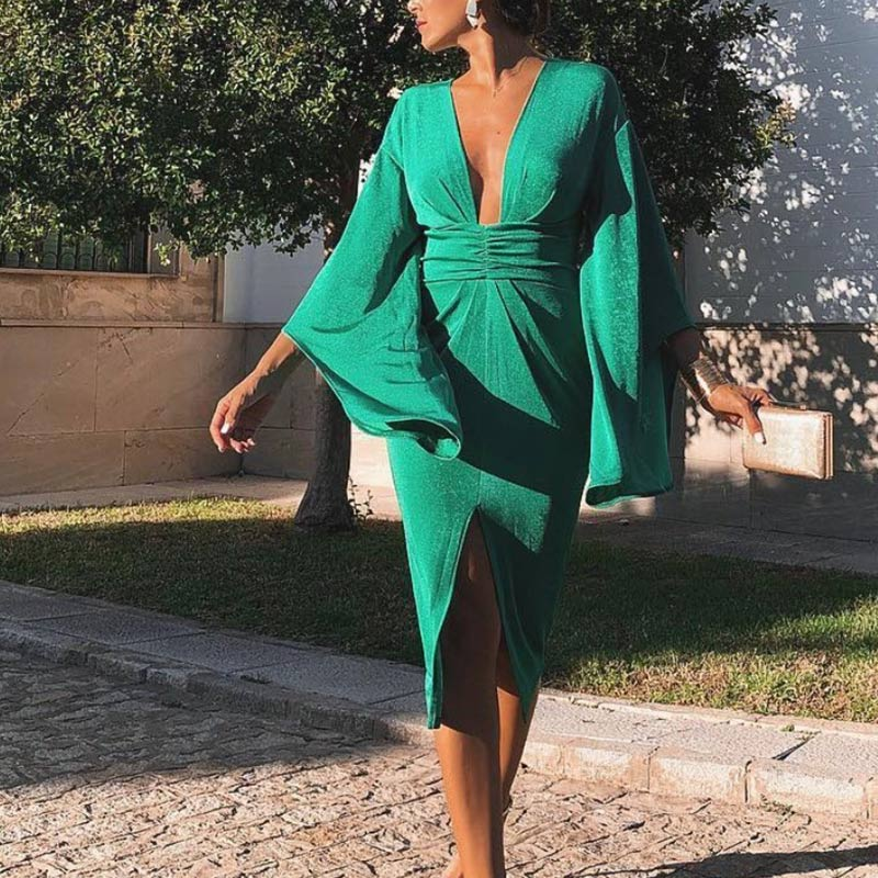 Womens Bodycon Green Party Dress Sexy Deep V-neck Ladies Midi Dresses 2019 Summer Autumn Flare Sleeve Split Tunic Vestido Mujer