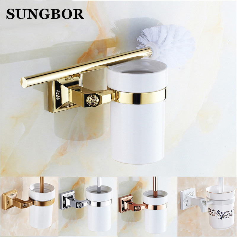 Luxury Golden/ Chrome Toilet Brush Holder with Ceramic Cup Wall Mounted Brass Toilet Brush Hanger Bathroom Accessories BJ-82909 simple bathroom ceramic wash four piece suit cosmetics supply brush cup set gift lo861050