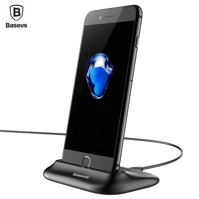 Baseus desktop data sync charging dock station para relâmpago telefone celular carregador usb carregador docking para iphone 7 6 6 s plus 5S 5