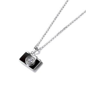 Image 5 - U7 925 Sterling Silver Camera Black Enamel CZ Pendant Necklace for Women Bridesmaid Photographer Gift 2018 New Fashion Design