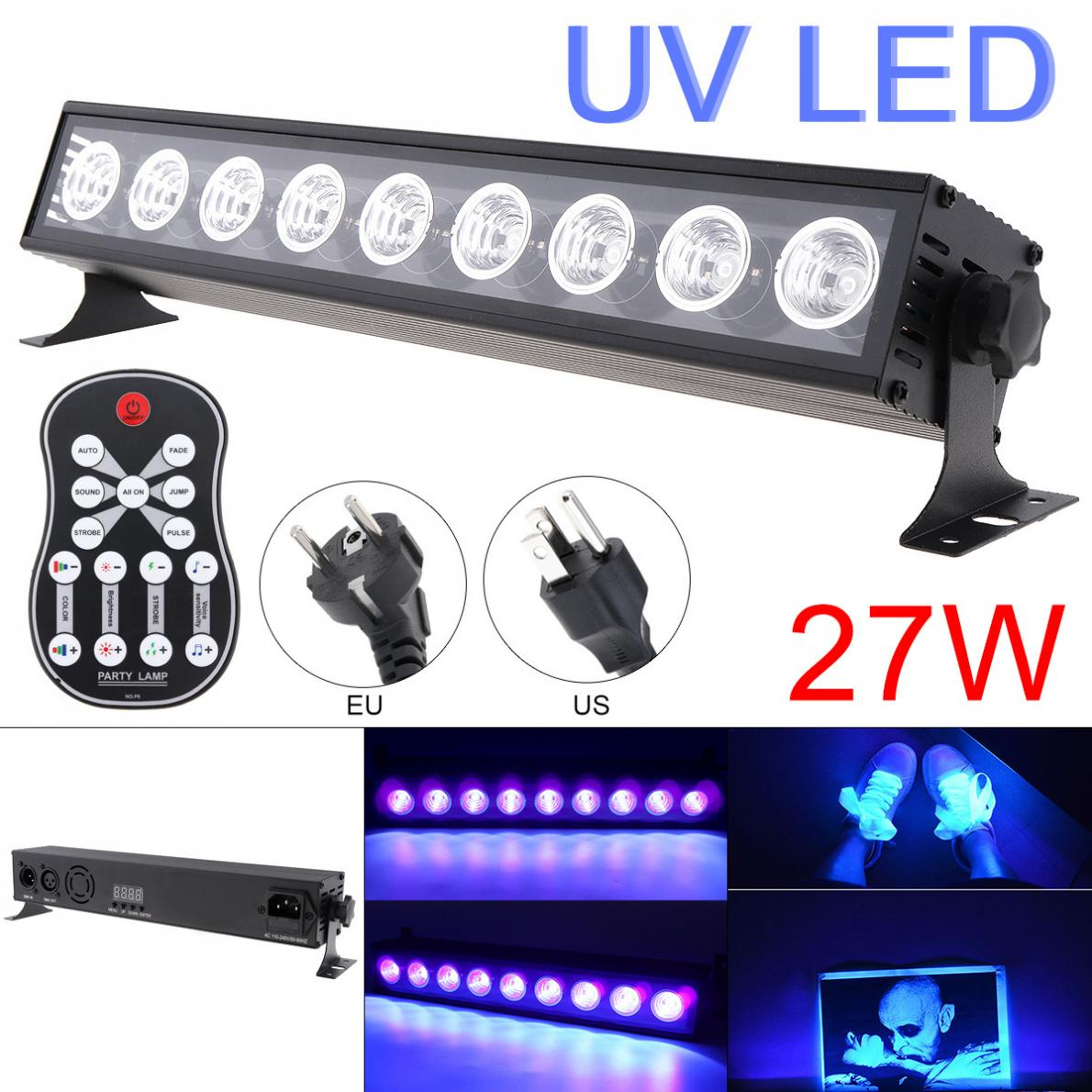 27W 50 60Hz 9 LEDs UV Remote Control Purple Light Bar with Automatic/Voice Control/DMX512 for Stage/Disco/Christmas/Halloween Stage Lighting Effect     - title=