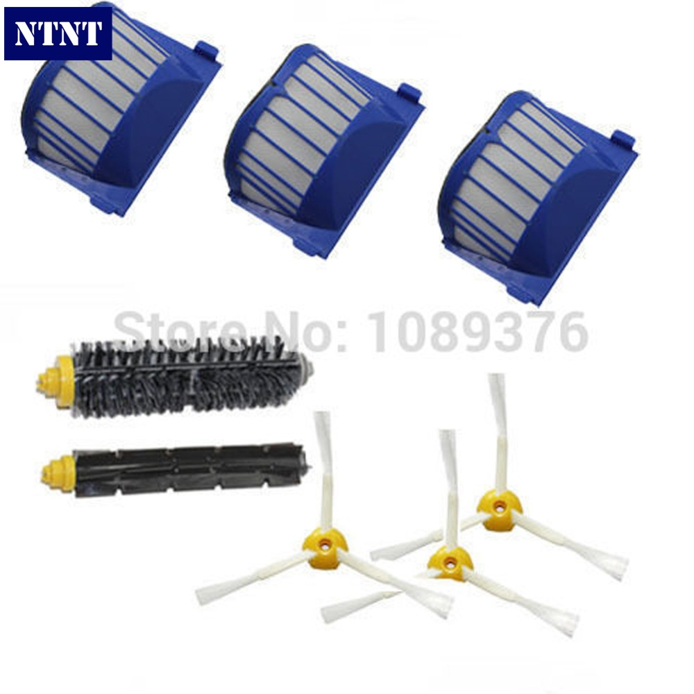 NTNT Free Post New Aero Vac Filter +Brush 3 armed Side for iRobot Roomba 600 Series 620 630 650 660 aero vac filter bristle brush flexible beater brush 3 armed side brush tool for irobot roomba 600 series 620 630 650 660