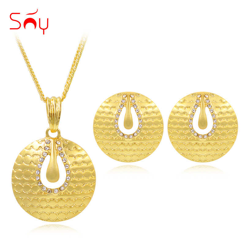 Sunny Jewelry Round Jewelry Sets For Women Necklace Earrings Pendant For Party Wedding Alloy Zircon Trendy Jewelry Sets Findings