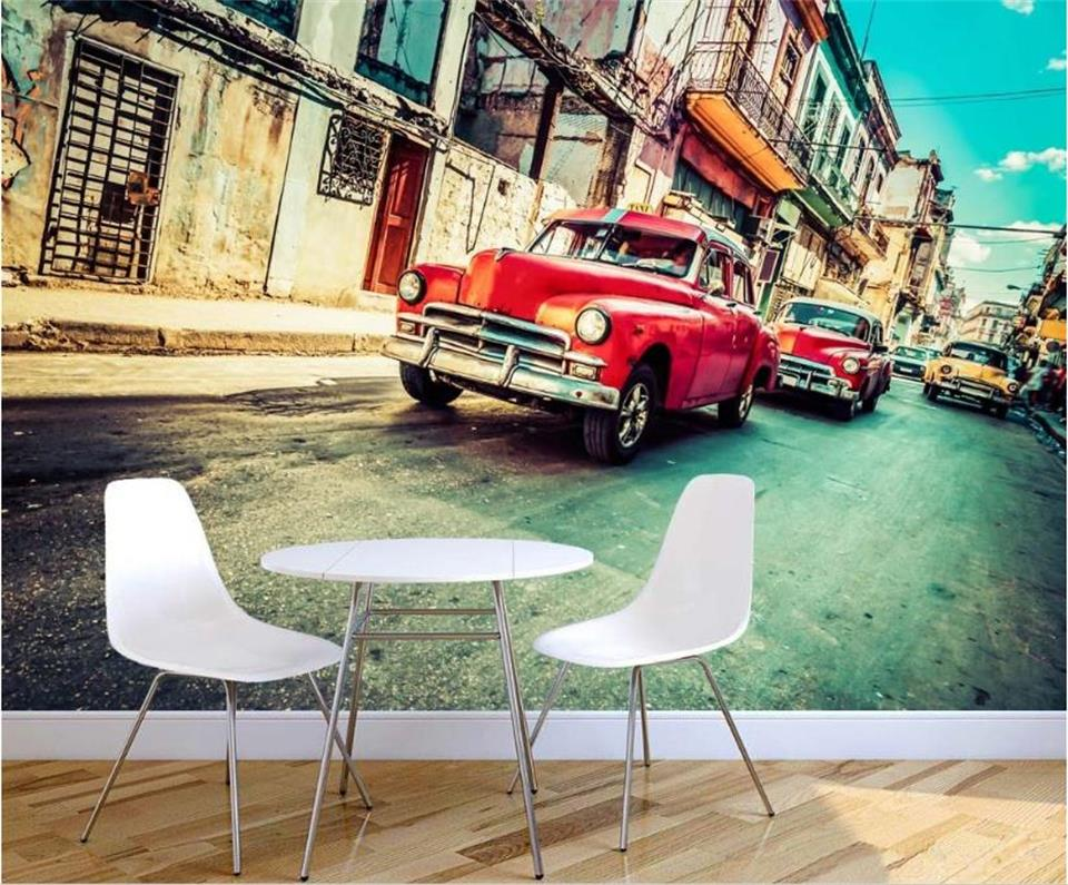3d wallpaper custom photo wallpaper living room mural retro old car Havana street painting TV background wallpaper for wall 3d creative oil painting motorcycle rider sunset large mural wallpaper living room bedroom wallpaper painting tv 3d wallpaper