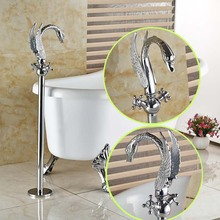 Swan Shape Floor Mount Dual Handle Bathtub Mixer Taps Floor Mount Free Standing Bathroom Tub Faucet Set in Chrome